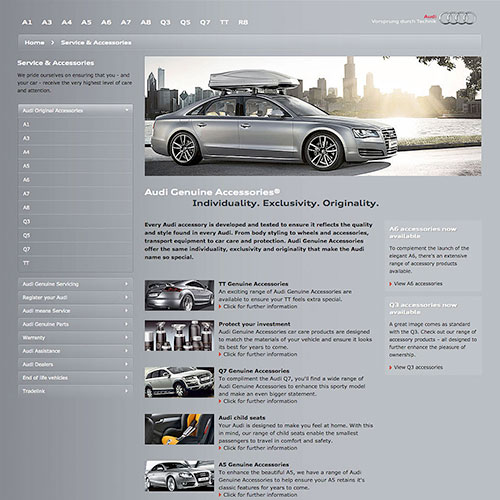 CMS Accessory website for Audi Ireland.