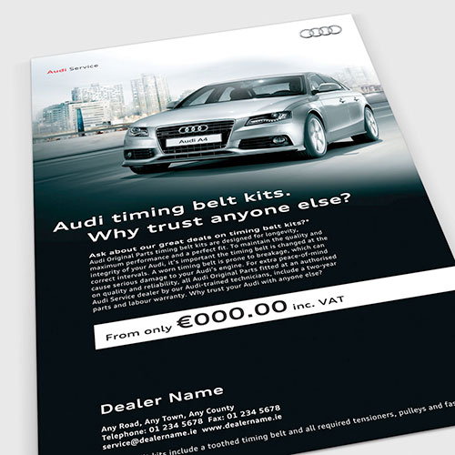 Dealer advertising templates for Audi Ireland.