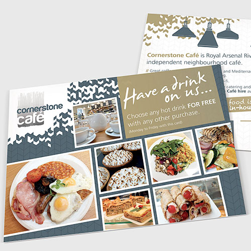 Offer leaflet for Cornerstone Café, London.