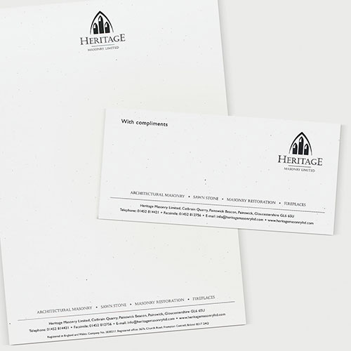 Identity and stationery for Heritage Masonry Limited.