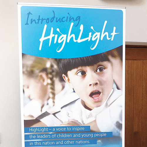 Pop-up banner for Highlight, schools charity.