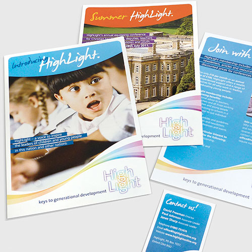 Support materials for Highlight, schools charity.