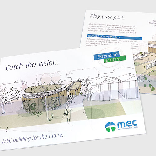 New building project leaflet for MEC, Malvern.