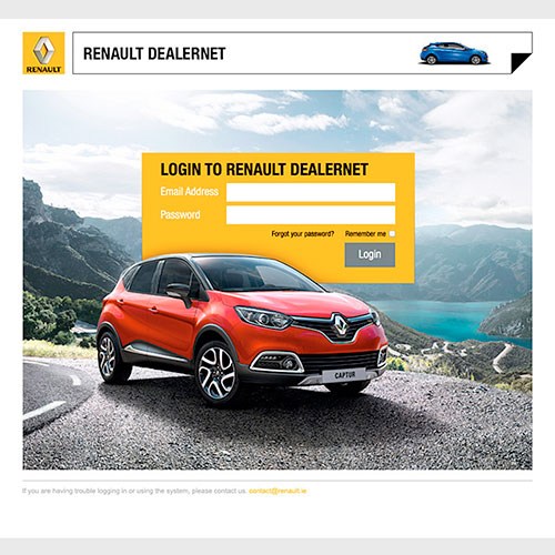 Dealernet website for Renault Ireland head office and dealership staff.