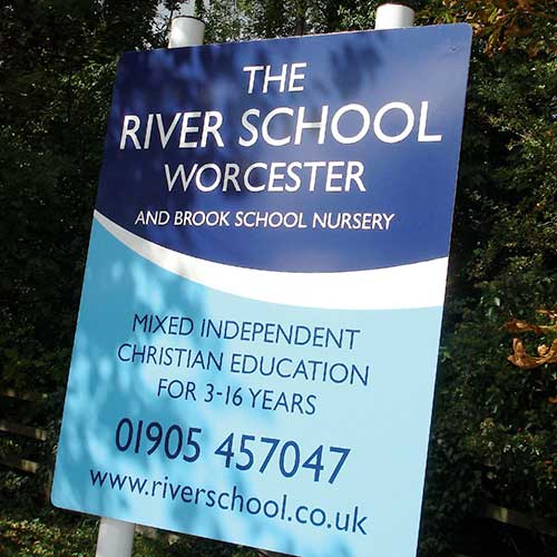 External signage for The River School, Worcester.