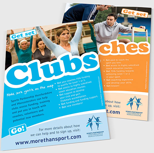 Clubs and Coaches support leaflets for Sports Partnership Herefordshire and Worcestershire.