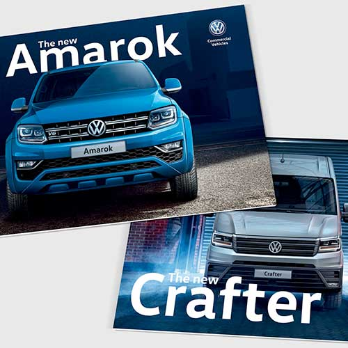 Amarok and Crafter launch brochures for Volkswagen Commercial Vehicles UK.