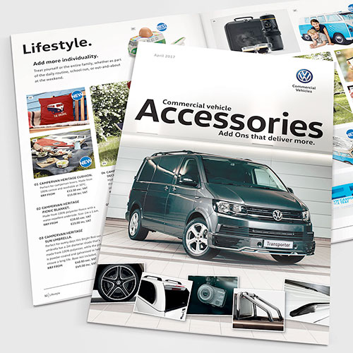 Accessory brochure for Volkswagen Commercial Vehicles UK.