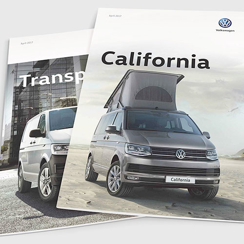 Sales brochures for Volkswagen Commercial Vehicles UK.