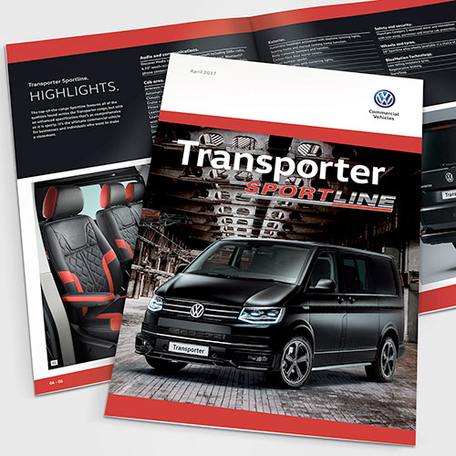 Transporter Sportline brochure for Volkswagen Commercial Vehicles UK.