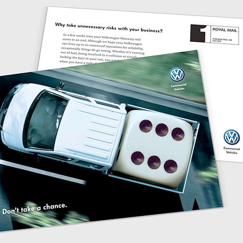 Extended warranty direct mail for Volkswagen Commercial Vehicles UK.