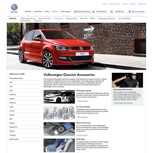 CMS Accessory website for Volkswagen Ireland.