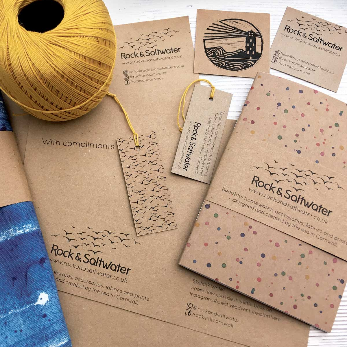Identity, stationery, labels and packaging for Rock & Saltwater, Cornwall